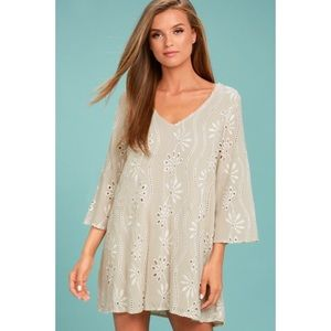 Bohemian Hearts Beige Embroidered Shift Dress